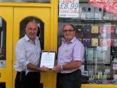 Presentation of Business Certificate to Mathers Bolton