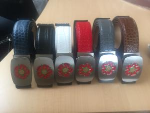 Lancashire Red Rose Buckles on Leather Belts