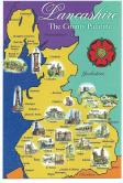 Coloured Postcard of The County Palatine of Lancashire