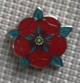 Red Rose Lapel Badge 3/4